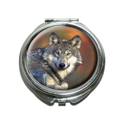Graphics and More Wolf Compact Purse Mirror