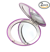 LOUISE MAELYS 2pcs Mini Foldable Cosmetic Makeup Mirror Compact Mirrors for Travel