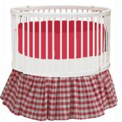 bkb Gingham Round Crib Bedding, Red