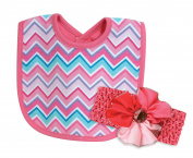 Stephan Baby Bib and Jewelled Flower Headband Gift Set, Pink and Turquoise Chevron
