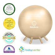 Baby Bump Birth Ball with Base Legs - Stability/Balance/Stand - Anti-burst - Pump - Exercise during Pregnancy - Prenatal Fitness - Induces Labour - Soothes Babies - Yoga Moms - 65 cm - Pebble Beige