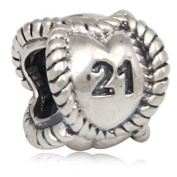 21st Birthday Charm Sterling Silver Anniversary Bead for Pandora Charm Bracelet