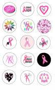 15 Pcs Cancer Pink Ribbons Symbols Awareness Support Pinback Button Brooch 3.2cm
