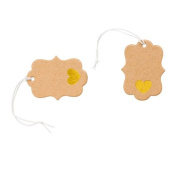 100 Pc Small Kraft Price Tags with Gold Foil Hearts and Elastic Strings