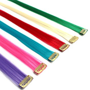 Creamily® 12 Pieces of 50cm Inches Multi-colours Party Highlights Clip in Synthetic Hair Extensions