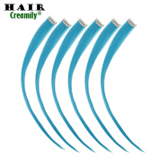 Creamily 12 Pieces of Blue 41cm Inches Multi-colours Party Highlights Clip in Synthetic Hair Extensions