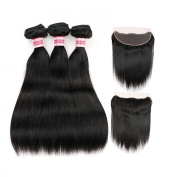 Fabeauty 7a Human Hair Bundles with Lace Frontal Closure Brazilian Straight Weave Hair 3 Pcs with Closure Full Frontal Lace Closure