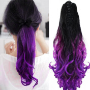 Neverland Beauty 60cm Claw on Ombre Two Tone Synthetic Curly Wavy Ponytail Hair Extensions Natural Black to Violet Purple