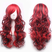 Netgo Anime Cosplay Wigs Red and Black for Women with Obligue Band Long Curly Hair Wigs Lolita Style Wigs
