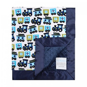 My Blankee Chuga Chuga Turquoise Minky Dotted Blankets, Navy, 80cm x 90cm