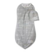 Woombie Hello World Grey Swaddle + Hat Set, Grey