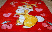 NEW RED BUNNY RABBIT WITH HEARTS & CHERRIES HOLDING BALLOONS KOREAN STYLE PLUSH MINK SOFT CHILD BABY BLANKET
