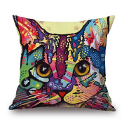 ValentoriaColorful Dog Cat Cotton Linen Square Decorative Throw Pillow Case Cushion Cover 46cm x 46cm