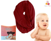 Breastfeeding Cover Infinity Nursing Scarf - Maroon Solid Pattern - Many Colours and Patterns - Tykes & Tails Baby Nursing Cover / Scarf Perfect for your Newborn - Great Shower Gift
