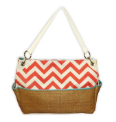 Caught Ya Lookin' Chevron Chic Nappy Bag, Coral and Straw