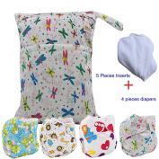 Baby Waterproof Nappy Nappies 4pcs, 5pcs Inserts,1pcs Wet Dry Bag by Ohbabyka