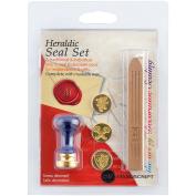 Decorative 3 Coin Sealing Set W/Wax-Heraldic W/Tan