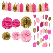 24 pcs Rose Pink Glitter Gold Tissue Paper Pom Pom Tissue Pom Pom Paper Tassel Garland Polka Circle Dot Paper Garland for Decor Wedding Bridal Pink Gold Birthday Baby Shower