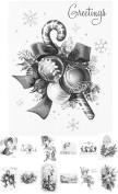 Adult Colouring Grayscale Cards (24 cards 10cm x 15cm ) Christmas Santa Snowman FLONZ Vintage Designs for Adult Colouring