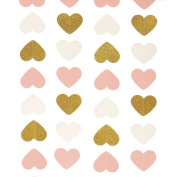 Ling's moment Paper Heart Garland (Gold Glitter+Pink+White), Hearts Hanging Decorations for Wedding, Baby Shower, Festival Items & Party Props, 2.6m Long