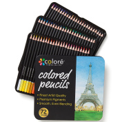 Colore Coloured Pencils - 72 Premium Pre-Sharpened Colour Pencil Set For Drawing Colouring Pages - Great Art School Supplies For Kids & Adults Colouring Books - 72 Colours