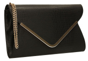 Almer Animal Print Croc Faux Leather Envelope Evening Clutch Bag Ladies Bridal Party Prom Bags - SWANKYSWANS