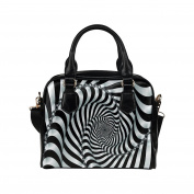 Artsadd Women Bag Black and White Spiral Shoulder Handbag Tote Bag