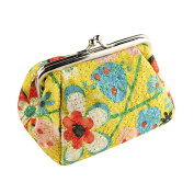 Leoy88 Embroidered Cloth Purse Retro Small Wallet Hasp Clutch Bag