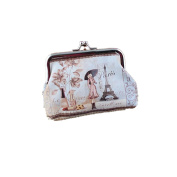 Leoy88 Womens Small Wallet Girl and Tower Coin Purse Clutch Handbag