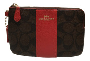 Coach Signature PVC Corner Zip Wristlet Brown with Red Stripe 54629