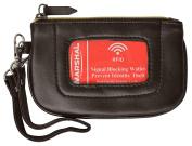 Women's Premium Leather RFID Blocking Safe Zip ID Pouch