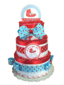Sweet Baby- Red and Blue Polka Dot Baby Shower Nappy Cake
