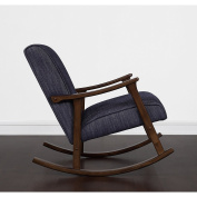 Fabric, Wood. Mid-Century Style Retro Indigo Wooden Rocker, Blue