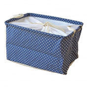 Fieans Collapsible Cotton and Linen Stripe Folding Boxes Organising Baskets Storage Box-Blue