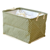 Fieans Collapsible Cotton and Linen Stripe Folding Boxes Organising Baskets Storage Box-Green