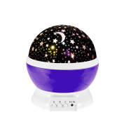 Mily LED Night Lighting Lamp Projector with USB Cable 4 Bright Colours with 360 Degree Moon Star Projection and Rotation Purple