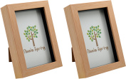 Nicola Spring Light Wood Effect 4x6 Box Photo Frame - Standing & Hanging - Pack of 2