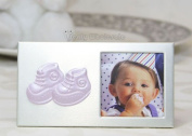 Baby Booties Plated Picture Frame Pink