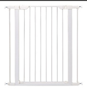 Baby Gate Walk Thru with Swing Door Extra Tall in White - Pressure Mount Safety for Doorways or Hallway is Best for Pets, Babies and Dogs - Portable Design for Indoor or Outdoor Use