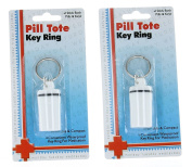 Lot of 2 Waterproof Keychain Pill Holder Travel Container
