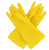 2 Pairs Dishwashing Gloves Reusable Latex Gloves Rubber Kitchen Gloves with Dexterity and Durability Yellow