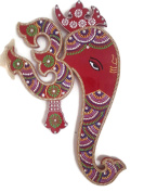 Indian Wall Decor Artwork from India - Hindu God Ganesh with Om Wall Hanging Painting