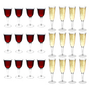 Rink Drink Plastic Outdoor Wine Glasses & Champagne Flutes - Set Of 24
