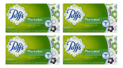 Puffs Plus Lotion Facial Tissues, 4 Family Boxes, 124 Tissues per Box