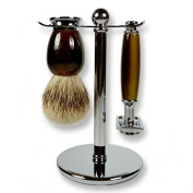 3 Piece Kaliandee Shaving Set with Silvertip Brush in Horn and Chrome, Fiore Razor, and Chrome Stand