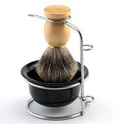 Father or Men's Shaving Gift Set Stainless Steel Shaving Brush Razor Stand Holder Shaving Bowl Mug Set and Pure Badger Hair Shaving Brush