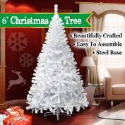 NEW 1.8m White Classic Pine Christmas Tree Artificial Realistic Natural Branches-Unlit 180CM 750 Tips With Metal Stand