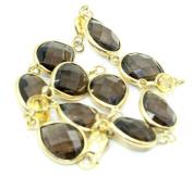 Smokey Topaz & Citrine Gemstone Bracelet ,14k Yellow Gold 20cm