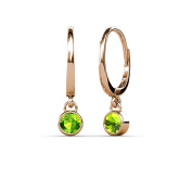 Peridot Bezel Set Solitaire Dangling Earrings 0.65 ct tw in 14K Rose Gold