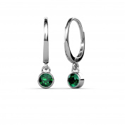 Emerald Bezel Set Solitaire Dangling Earrings 0.45 ct tw in 14K White Gold